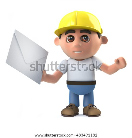 3d render of a construction worker holding an envelope