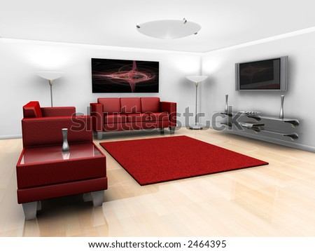 3D render of a contemporary styled minimalistic lounge with furniture
