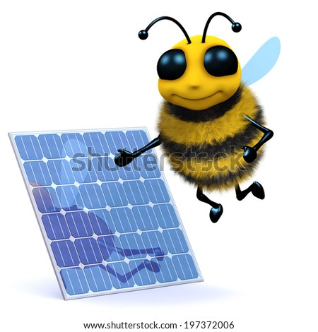 3d render of a cute honey bee next to a solar panel - stock photo