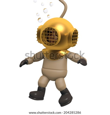 3d render of a deep sea diver descending to the bottom of the ocean - stock photo