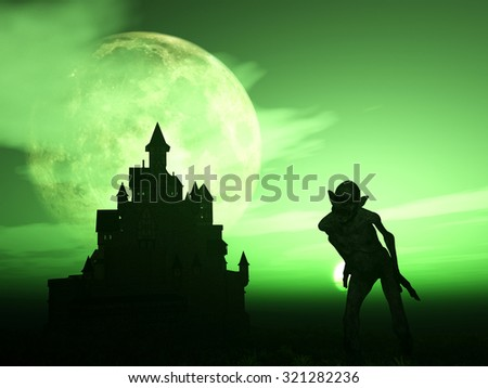 3D render of a demonic figure with a spooky castle