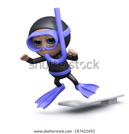 3d render of a diver jumping off a diving board - stock photo
