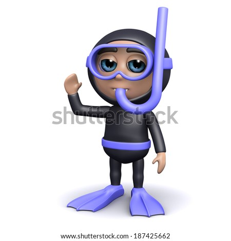 3d render of a diver standing and waving - stock photo