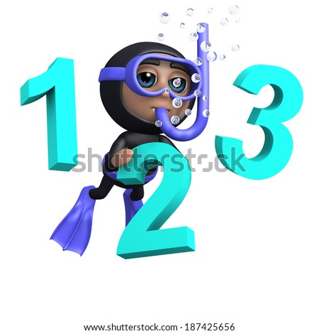 3d render of a diver with numbers 1, 2 and 3 - stock photo