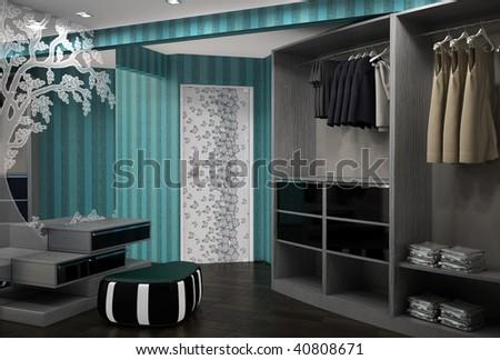 3d render of a dressing room interior design - stock photo