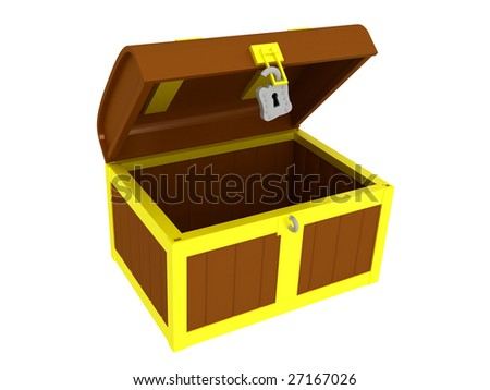 3d render of a empty treasure chest. Isolated on white background. - stock photo