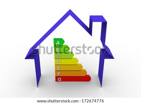 3d render of a energy efficiency chart in a house. Energy and ecology concept - stock photo