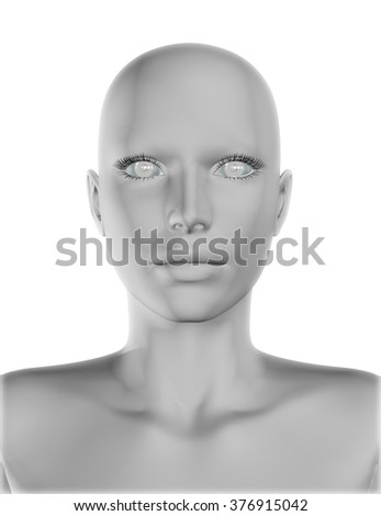 3D render of a female face with smooth skin