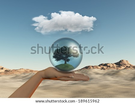 3D render of a female hand holding a tree in a globe under a cloud against a desert background - stock photo