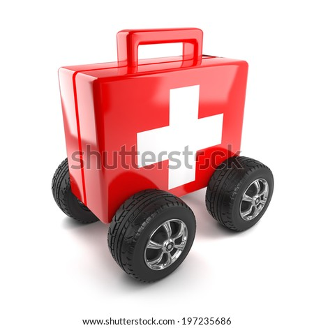 3d render of a first aid kit on wheels - stock photo