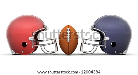 3D render of a football and helmets - stock photo