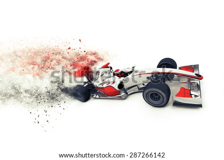 3D render of a generic race car with speed effect - stock photo