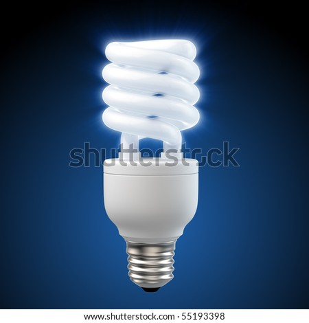 3d render of a glowing blue energy saving light bulb - stock photo