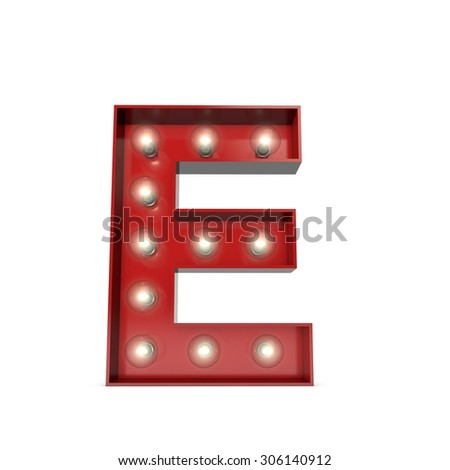 3D render of a glowing letter E broadway theatre style - stock photo