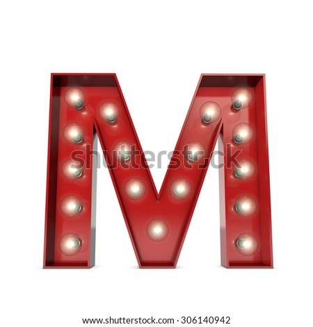3D render of a glowing letter M broadway theatre style - stock photo