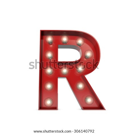 3D render of a glowing letter R broadway theatre style - stock photo