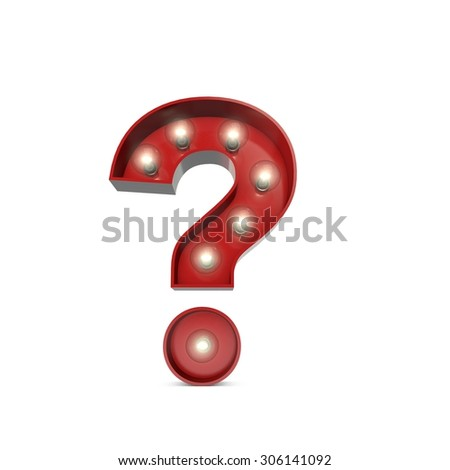 3D render of a glowing question mark sign broadway theatre style - stock photo