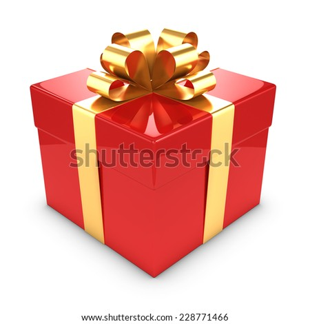 3d render of a gold and red gift box