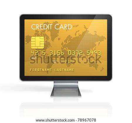 3D render of a gold credit card on a computer screen- isolated on white with 2 clipping paths : one for global scene and one for the screen - stock photo