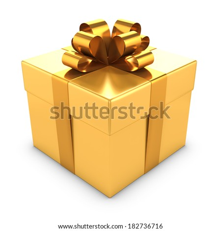 3d render of a gold gift box with bow - stock photo