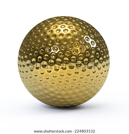 3d render of a gold golf ball - stock photo