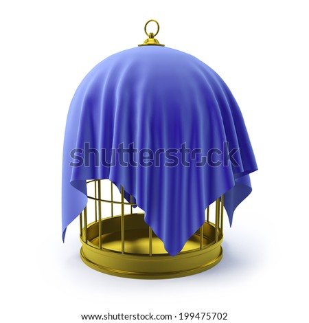3d render of a golden bird cage wrapped in blue velvet - stock photo