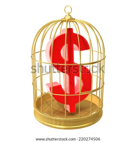3d render of a golden birdcage containing a US Dollar symbol - stock photo