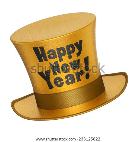 3D render of a golden Happy New Year top hat with shiny metallic flakes style surface - isolated on white background - stock photo