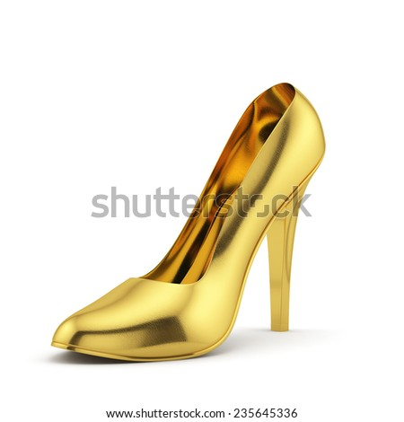 3d render of a golden high heel on white background isolated
