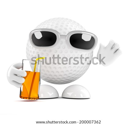 3d render of a golf ball character enjoying a cold drink - stock photo
