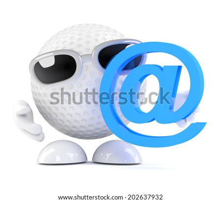 3d render of a golf ball with email address symbol