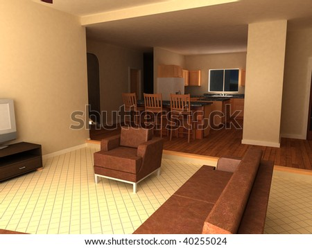 3d render of a great room and kitchen bar - stock photo