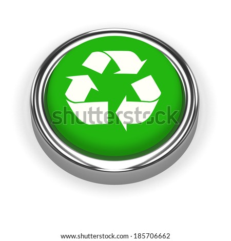 3d render of a green button with a recycle symbol mark