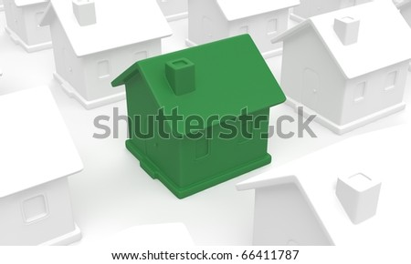 "3D render of a green colored ""Eco Friendly"" house surrounded by white colored houses."