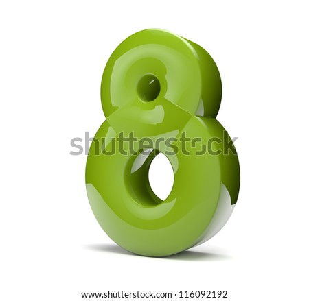3d render of a green number eight