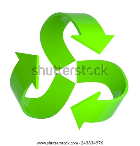 3d render of a green recycle arrows symbol - stock photo