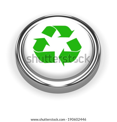3d render of a green recycle button