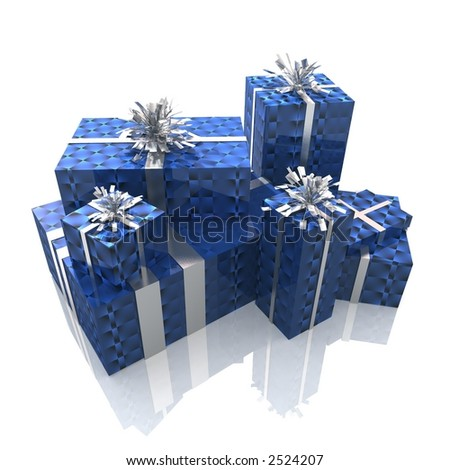 3d render of a group of presents with a sophisticated packaging - stock photo