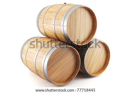 3d render of a group of wine barrels - stock photo