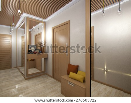 3D render of a hall from tree material - stock photo