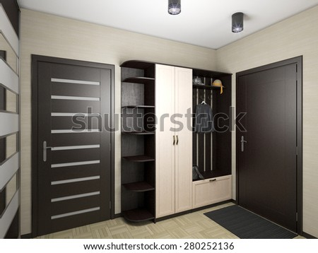 3D render of a hall in black and white colors  - stock photo