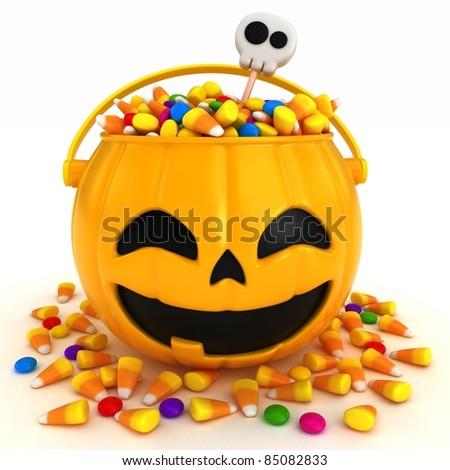 3D render of a halloween basket - stock photo