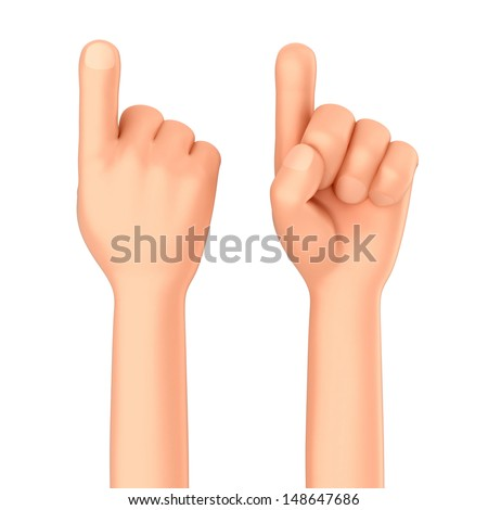 3d render of a hand showing one finger or pointing - stock photo
