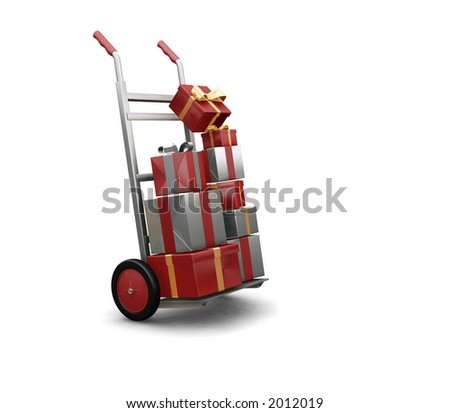 3D render of a hand truck full of Christmas presents