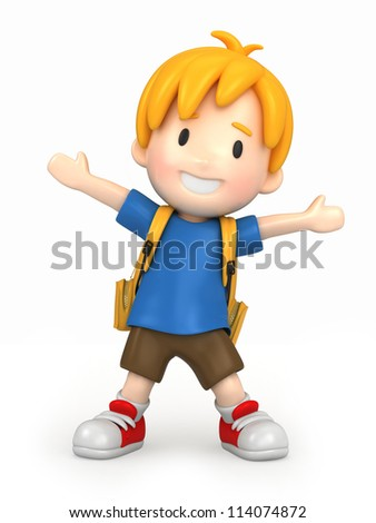 3d render of a happy boy with backpack - stock photo