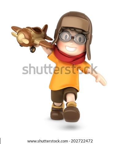 3d render of a happy kid playing with toy airplane - stock photo