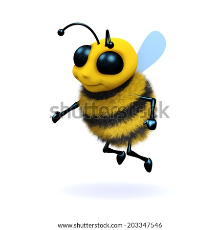 3d render of a honey bee - stock photo
