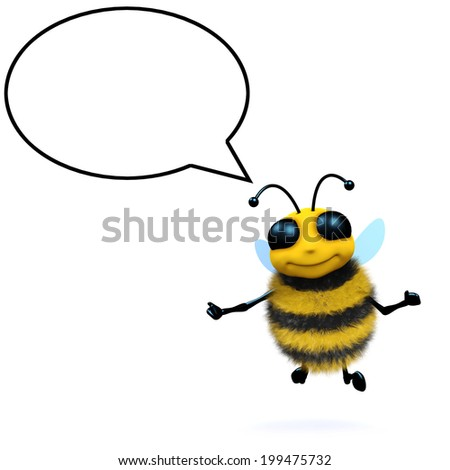 3d render of a honey bee with a speech bubble - stock photo