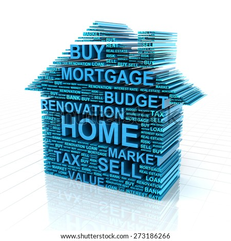 3d render of a house formed by words related to real estate - stock photo