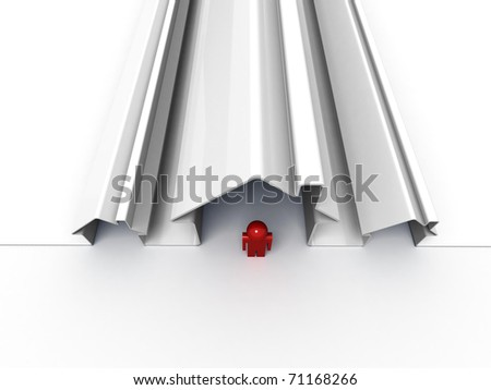 3d render of a house symbol and a man isolated on white - stock photo